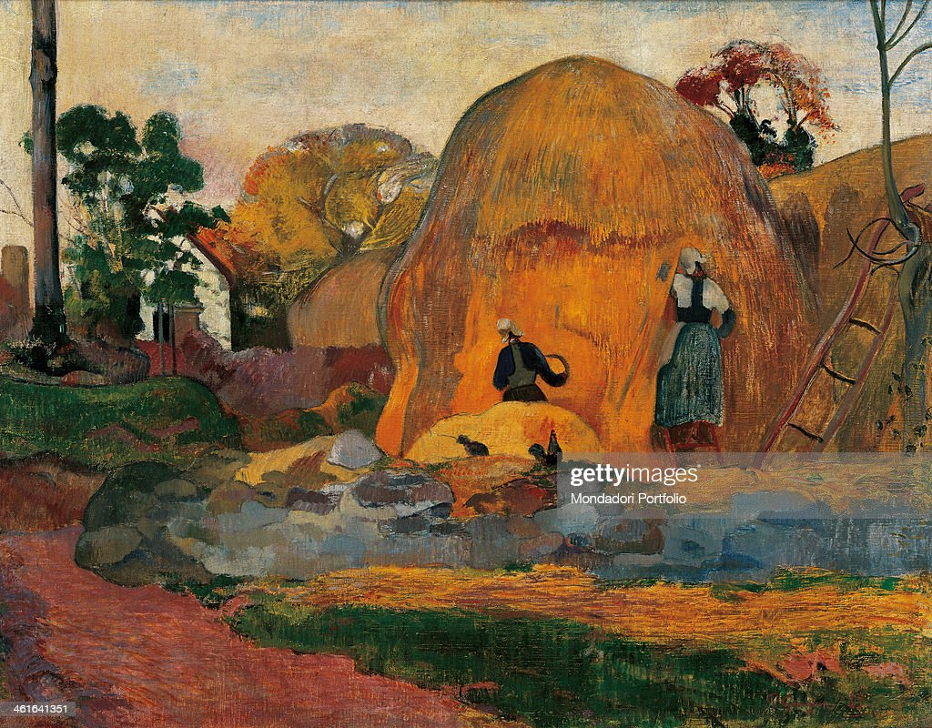 Yellow Sheaves, by <a gi-track='captionPersonalityLinkClicked' href=/galleries/search?phrase=Paul+Gauguin&family=editorial&specificpeople=99058 ng-click='$event.stopPropagation()'>Paul Gauguin</a>, 1889, 19th Century, oil on canvas, 73 x 92 cm. France, Paris, Musée d'Orsay. Whole artwork view. Landscape with a large yellow sheaf and two women seen from behind, busy at work.