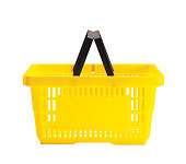 A yellow shopping basket with a black handle