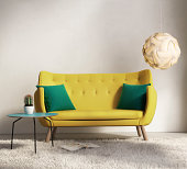 3d render of a yellow fresh sofa style, romantic interior living room