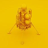 Yellow Space Lander. 3D illustration.