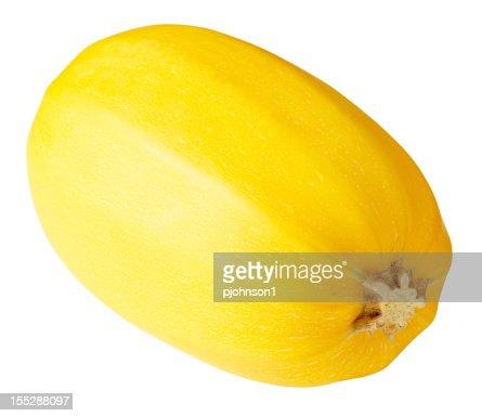 Yellow spaghetti squash on white background