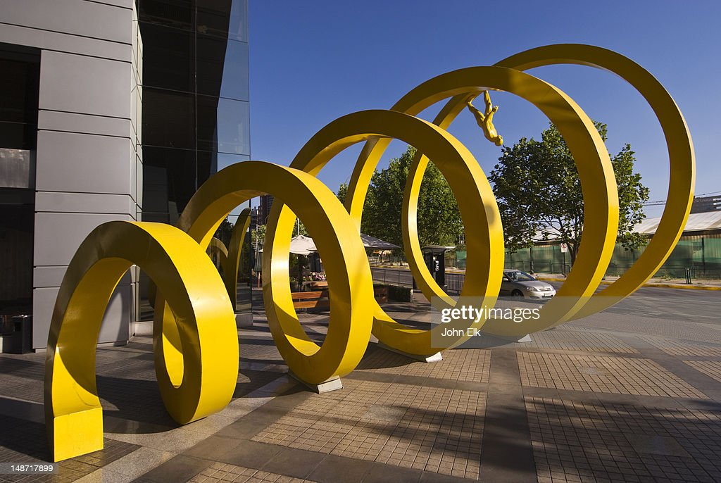 Yellow Spiral sculpture in Providencia. : Stock Photo