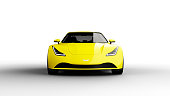 yellow sports car isolated on white background, photorealistic 3d render, generic design, non-branded