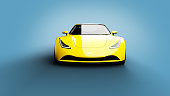 yellow sports car on blue background, photorealistic 3d render, generic design, non-branded