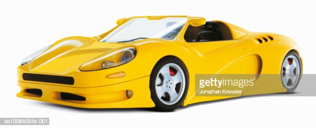 Yellow sports car on white background : Stock Photo