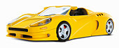 Yellow sports car on white background