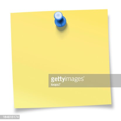 Yellow sticky note pinned with blue thumbtack