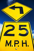 Yellow street sign saying 25 Miles Per House