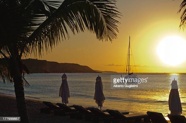 Yellow sunset at the beach with a sailboat in view