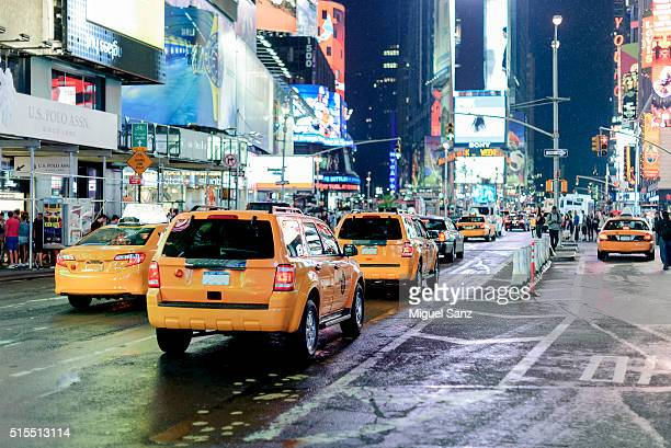 Yellow taxis in Times Square Manhattan, New York