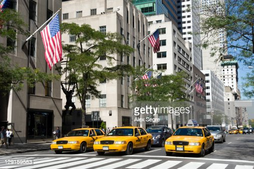 Yellow taxis on Fifth Avenue