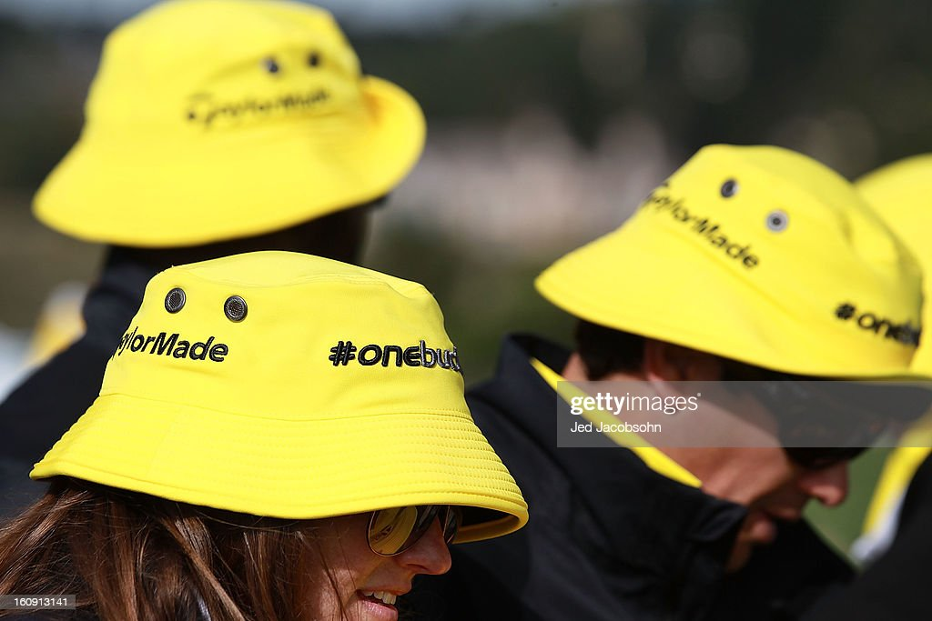 Yellow Taylor Made bucket caps are seen on the 17th hole during the first round of the AT&T Pebble Beach National Pro-Am at Pebble Beach Golf Links on February 7, 2013 in Pebble Beach, California.