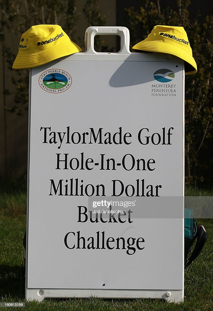 Yellow Taylor Made bucket caps are seen on the 17th tee during the first round of the AT&T Pebble Beach National Pro-Am at Pebble Beach Golf Links on February 7, 2013 in Pebble Beach, California.