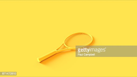 Yellow Tennis Racket : Stock Photo