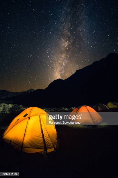 Yellow tents and milky way at Lumde village, Everest region, Nepal