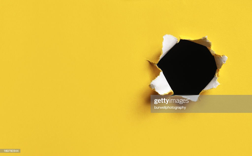 'Yellow Torn Paper hole, horizontal'