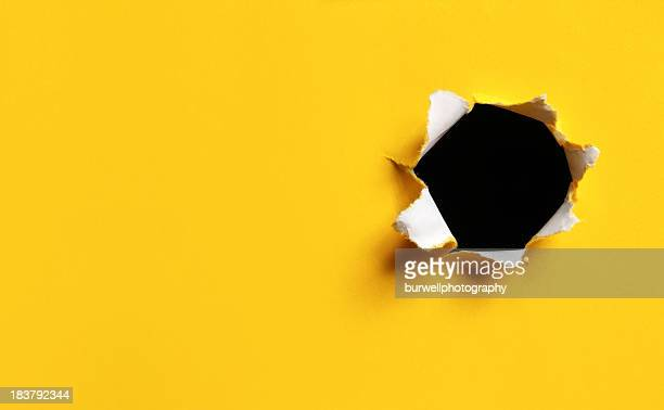 Yellow Torn Paper hole, horizontal