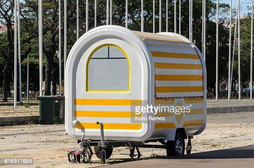 yellow trailer : Stock Photo