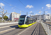 Yellow tram on the street of Brest, Brittany, France