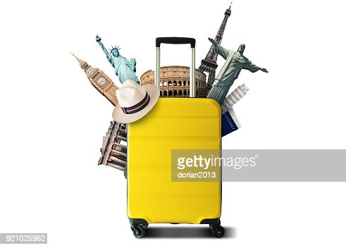 Yellow travel bag : Stock Photo