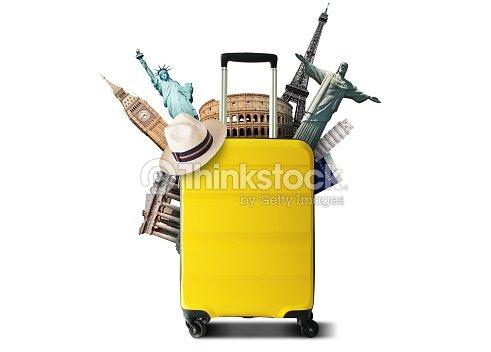 Yellow travel bag : Foto de stock