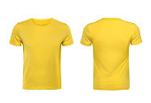 Yellow T-shirts front and back used as design template.