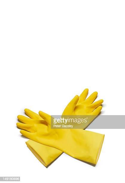 Yellow washing up gloves
