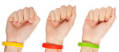 'Yellow,green and red  wristbands'