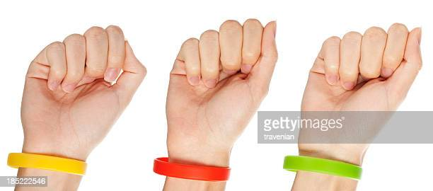 Yellow,green and red  wristbands