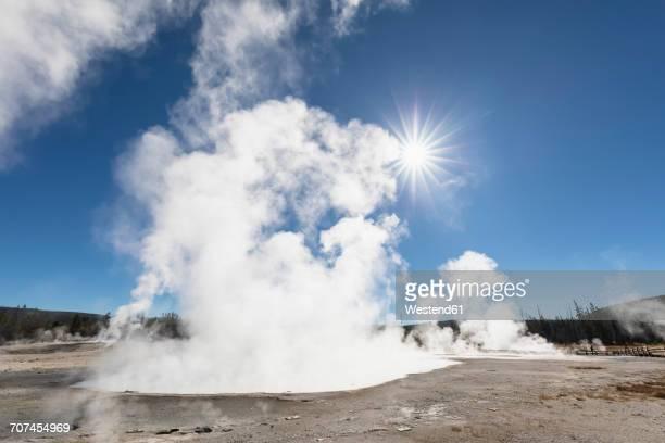 USA, Yellowstone National Park, Black Sand Basin, steaming Rainbow Pool