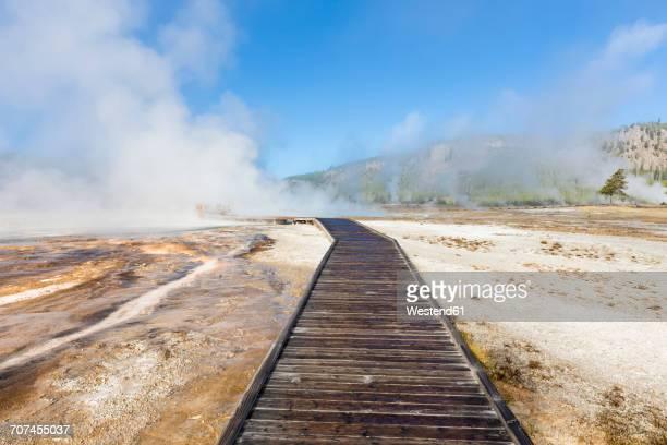 USA, Yellowstone National Park, boardwalk through Biscuit Basin