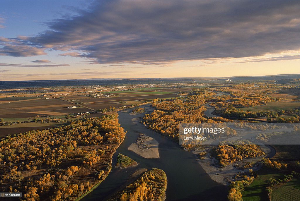 Yellowstone River and city of Billings, Montana