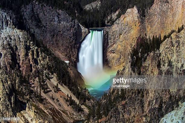 Yellowstone Waterfall with a rainbow