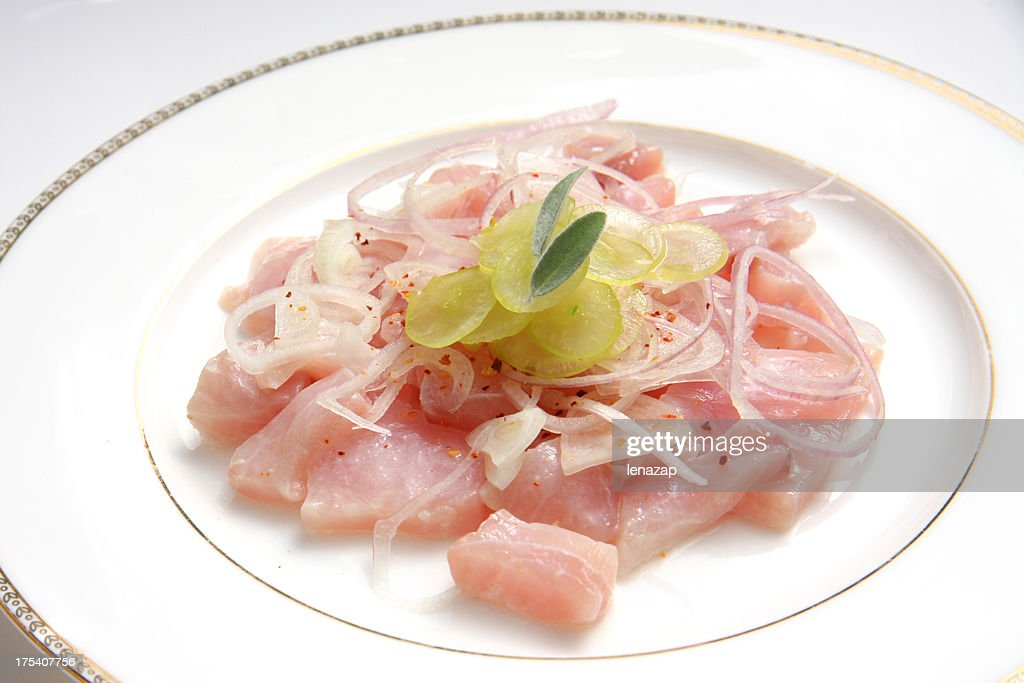 Yellowtail Carpaccio or ceviche with grapes