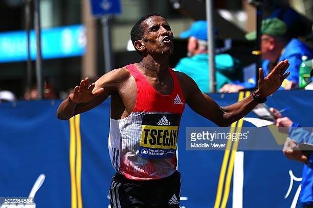 Yemane Adhane Tsegay of Ethiopia crosses the finish line during the 120th Boston Marathon on April 18 2016 in Boston Massachusetts