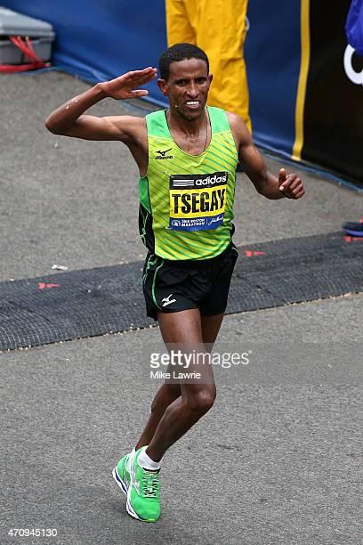 Yemane Tsegay of Ethiopia runs during the 119th Boston Marathon on April 20 2015 in Boston Massachusetts