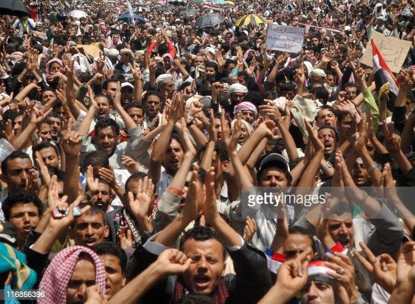 Yemeni antiregime protesters shout slogans during a demonstration calling for the ouster of President Ali Abdullah Saleh following Friday prayers in...