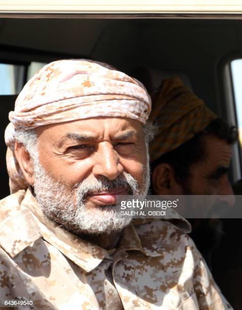 Yemeni Army deputy chief of staff Major General Ahmad Saif Al Yafii looks on from inside a vehicle at the port of the western Yemeni coastal town of...