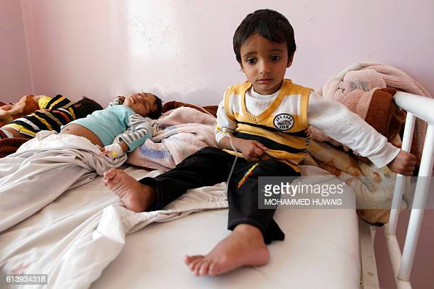 Yemeni children receive treatment at a hospital in the capital Sanaa on October 11 2016 The World Heath Organization said it had confirmed 11 cases...