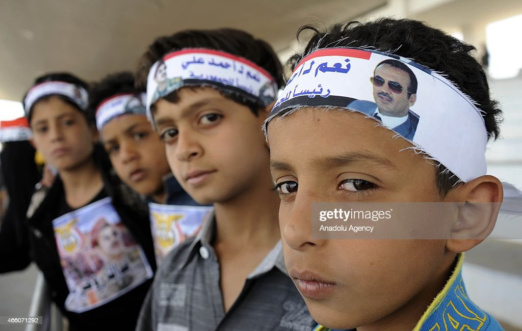 Yemeni children who support former Yemeni President <a gi-track='captionPersonalityLinkClicked' href=/galleries/search?phrase=Ali+Abdullah+Saleh&family=editorial&specificpeople=221711 ng-click='$event.stopPropagation()'>Ali Abdullah Saleh</a>'s son <a gi-track='captionPersonalityLinkClicked' href=/galleries/search?phrase=Ahmed+Ali+Saleh&family=editorial&specificpeople=5496755 ng-click='$event.stopPropagation()'>Ahmed Ali Saleh</a> stage a protest to end political problems in the country and demand early presidential elections at Sebin square in Sanaa, Yemen on March 13, 2015.