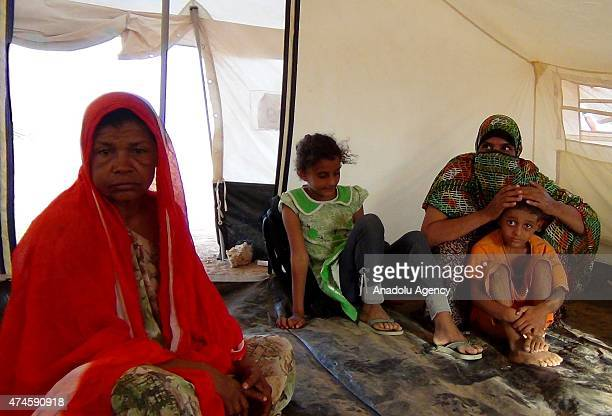 Yemeni family fled the air strikes that have devastated their country take shelter at UNHCR's refugee camp site in Obock region of Djibouti on May 23...
