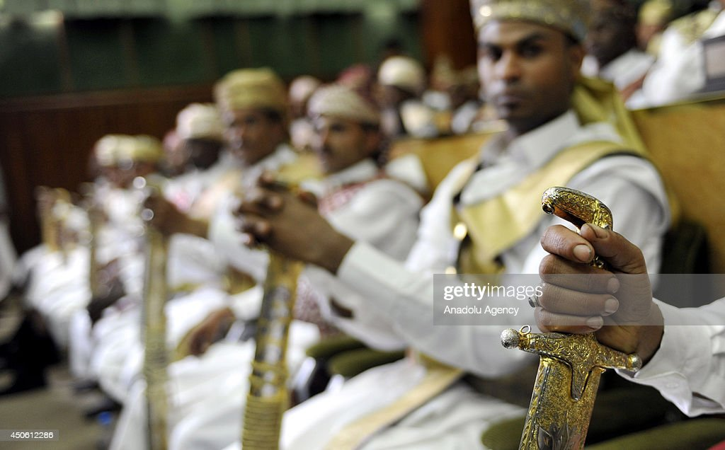 Yemeni grooms wear traditional costumes and carry swords during a mass wedding ceremony on June 14, 2014 in the Yemeni capital Sanaa. The mass wedding ceremony was organized by the Sanaa Municipality for its 350 employees of garbage collectors and street cleaners.