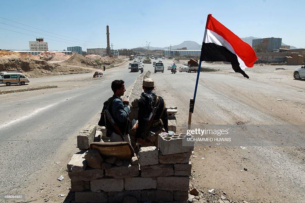 Yemeni gunmen loyal to the Shiite Houthi movement man a checkpoint in Sanaa on October 30 2014 Yemen has fallen deeper into turmoil since an uprising...