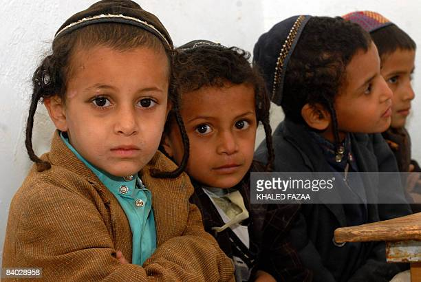 Yemeni Jewish boys attend the Shabazi Hebrew school in the village of Raydah in Amran province 70 kilometres north of the capital Sanaa on December...