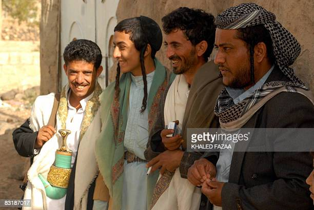 Yemeni Muslim and Jewish guests attend the wedding party of 19yearold Yemeni Jew Yussef Saeed Hamdi in the village of Raydah in Yemen's Amran...