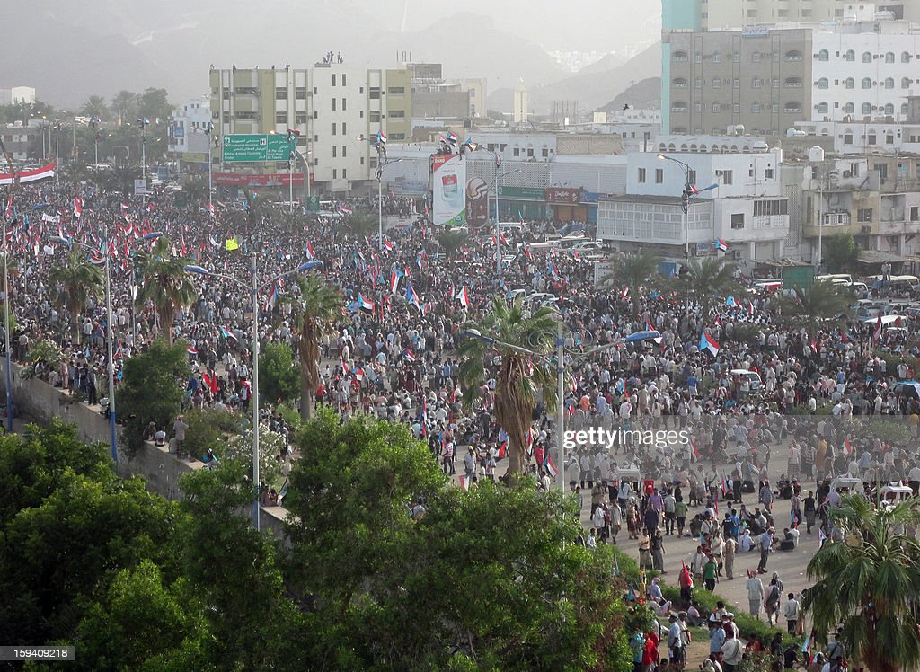Yemeni people take part in a rally calling for self-rule for the formerly independent south on the 27th anniversary of civil war in the Khor Maksar square in Yemen's former capital Aden on January 13, 2013. North Yemen (Yemen Arab Republic) and South Yemen (People's Democratic Republic of Yemen) unified in 1990 to form the present day republic.