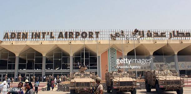 Yemeni Popular Resistance Forces take security measures around International Aden Airport after clashes between Yemeni Popular Resistance Forces and...