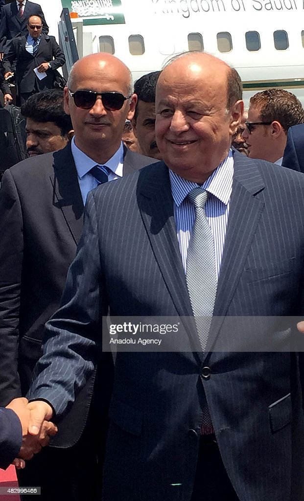 Yemeni President Abd Rabbuh Mansour Hadi (R) is seen after disembarking from the plane in Cairo, Egypt on August 5, 2015. Abd Rabbuh Mansour Hadi arrived in Cairo Wednesday on a visit to Egypt during which he will attend the opening of a new shipping route of the Suez Canal, due on Thursday.
