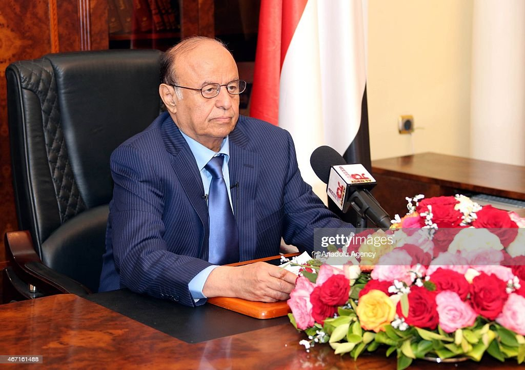 Yemeni President Abd Rabbuh Mansour Hadi speaks to the media in Aden,Yemen on March 21, 2015. Hadi said Saturday that he had moved to the southern city of Aden to make it a temporary capital, not to declare it an independent state.
