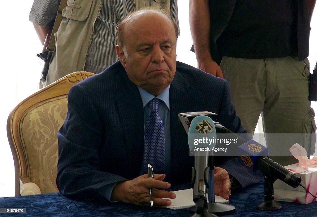 Yemeni President Abd Rabbuh Mansour Hadi who was under house arrest by Houthis for weeks, meets with a delegation from Seba region on March 01, 2015 in Aden, Yemen.
